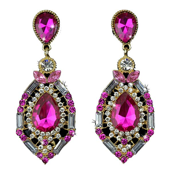Hot Pink Austrian Crystal Earrings For Women
